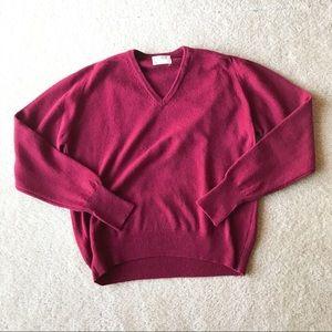L.L. Bean Men's XL Maroon Lambswool V-neck Sweater